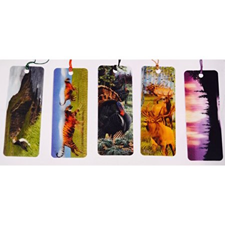 Tigers In Motion - Puffin In Motion - 3D Gobble Gobble – Light Forest in Motion - 3D Elk - Bookmarks with tassels For Kids - 3d Bookmarks For Kids