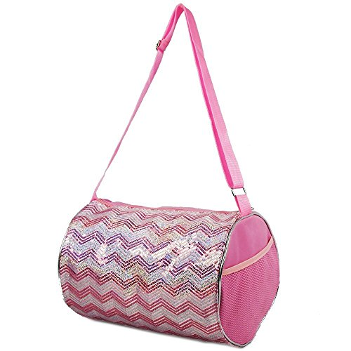 Girls Duffle Bag Chevron Sequin Bag Fuchsia