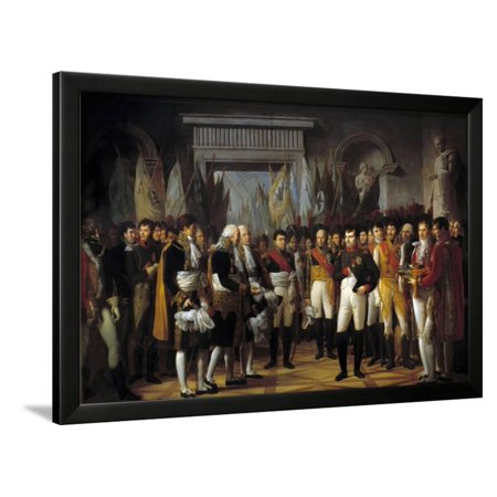 Napoleon I Receives the Deputies at the Royal Palace in Berlin, 1806, by Rene Berthon Framed Print Wall Art