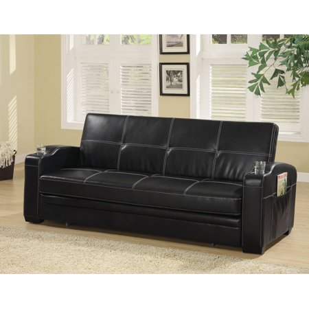 Simple Relax 1perfectchoice Contemporary Living Room Pull Out Sleeper Sofa Bed Futon Black Faux Leather