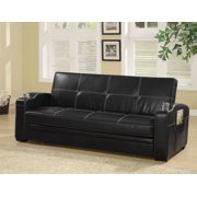 1perfectchoice contemporary living room pull out sleeper sofa bed futon bed black faux leather