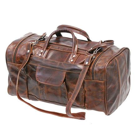 Halloween Jamin.Jamin Leather Medium Size Vintage Brown Leather Travel Duffle Bag P302mdn