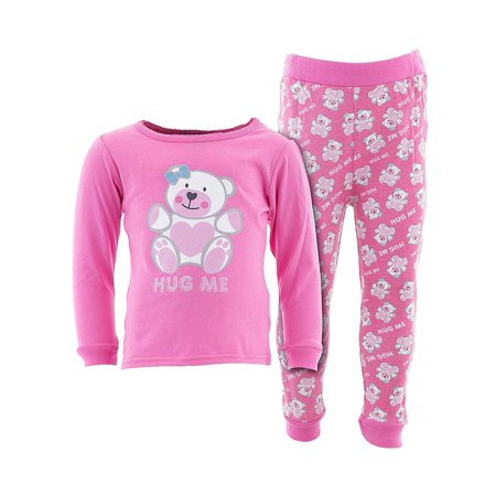 Sweet & Soft Little Girls Pink Hug Me Cotton Pajamas ()