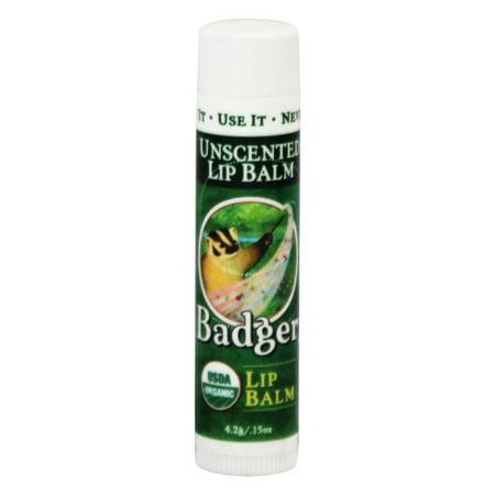 Badger - Lip Balm Stick Unscented - 0.15 oz. (pack of 4)