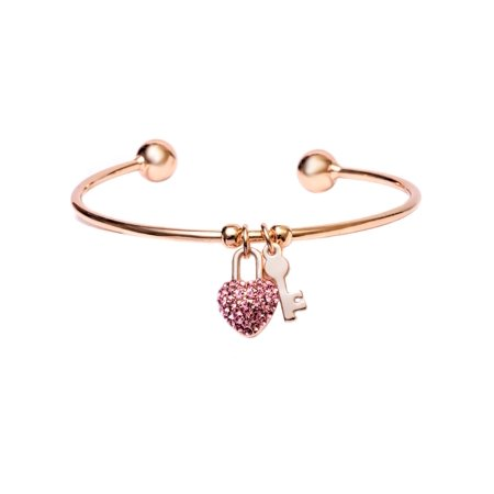 Swarovski Pink Heart Lock (18K Rose Gold Plated Pink Swarovski Elements Heart Lock And Key Charm Cuff )