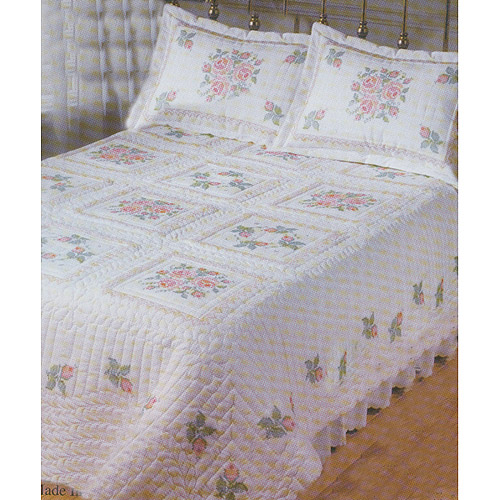 "Roses & Lace Stamped Cross Stitch Quilt , 90"" x 103"" Double"
