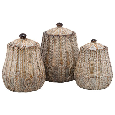 - 10 Strawberry Street Braided 3 Piece Ceramic Canister Set, Rust