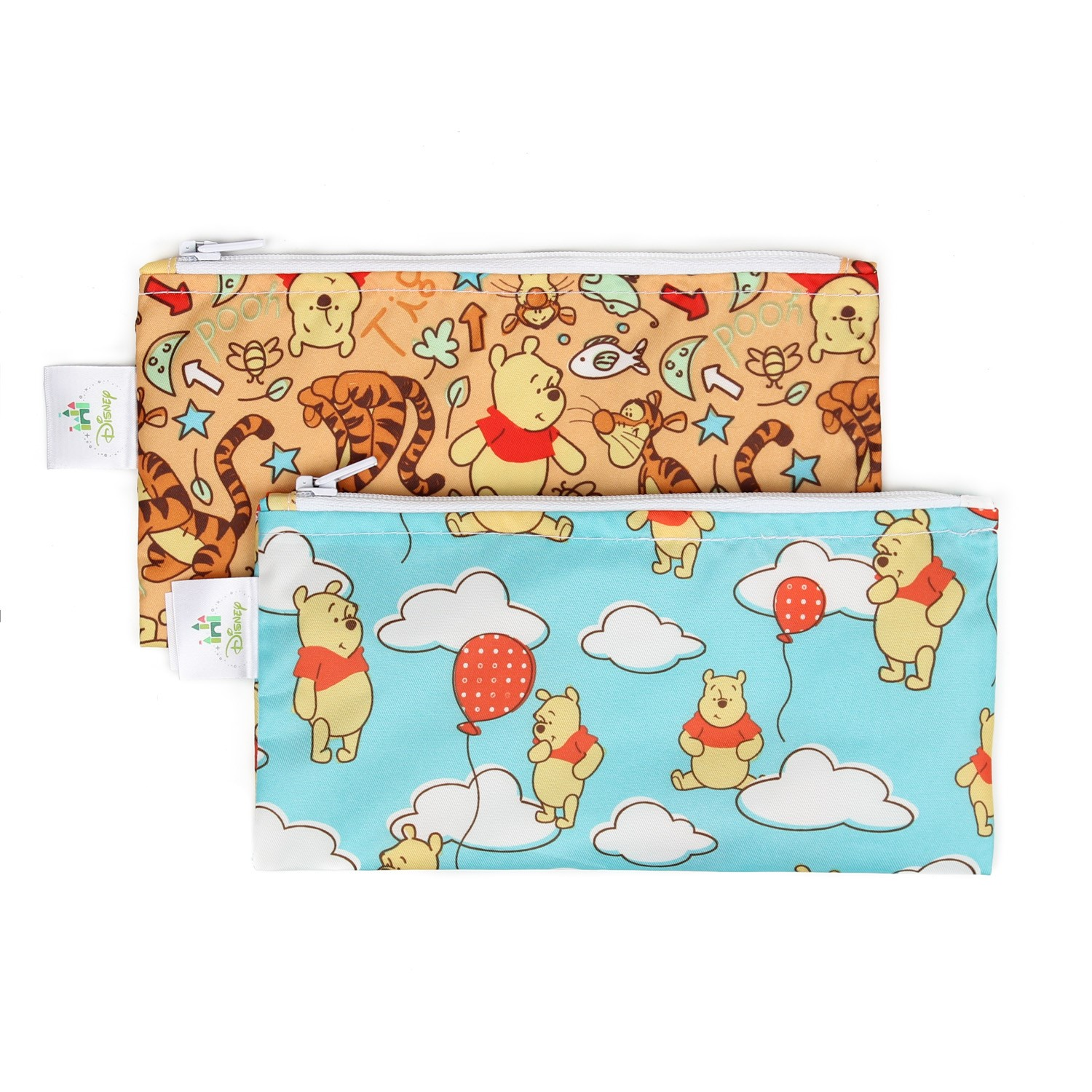 Bumkins Reusable Snack Bag, Small, Pooh (Woods/Balloon), 2 Pack