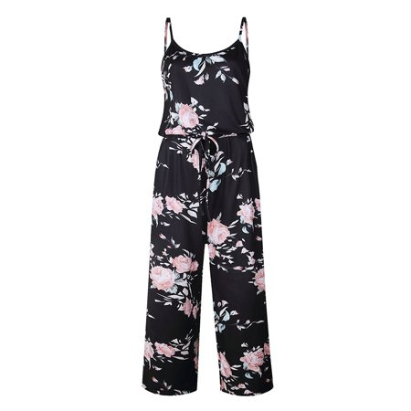 Women Casual Floral Printed Jumpsuit Halter Wide Long Pants Jumpsuit Rompers - Blue Jumpsuit