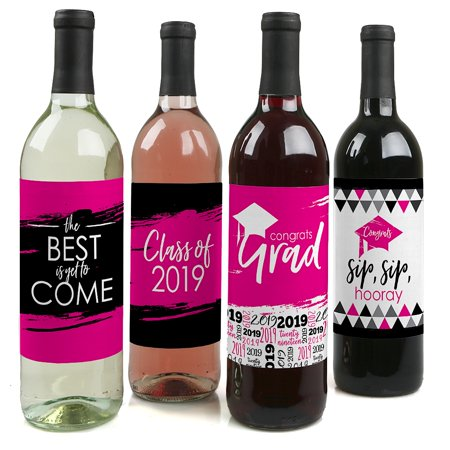 Pink Grad - Best is Yet to Come - Pink 2019 Graduation Party Decorations for Women and Men - Wine Bottle Label
