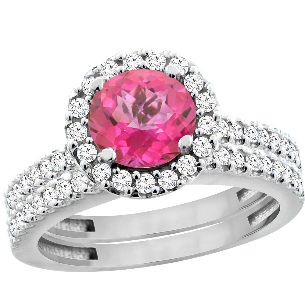 10K White Gold Natural Pink Topaz Round 6mm 2-Piece Engagement Ring ...