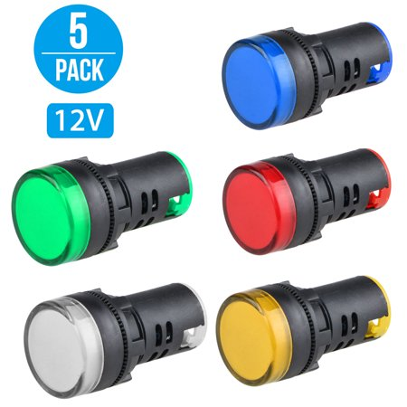 5 Pack Blue Led - TSV 5 Pack 22mm LED Indicator Pilot Light Signal Lamp Panel Red Green Blue Yellow White