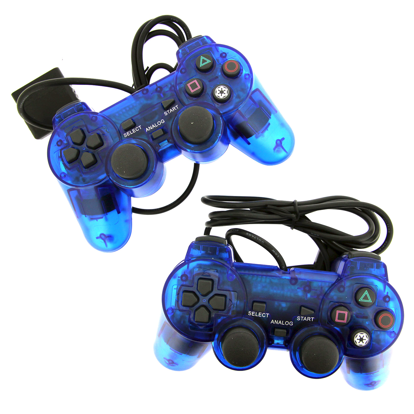 2 Blue Wired Replacement Controller For Playstation PS1 PS2 Black by TekDeals by