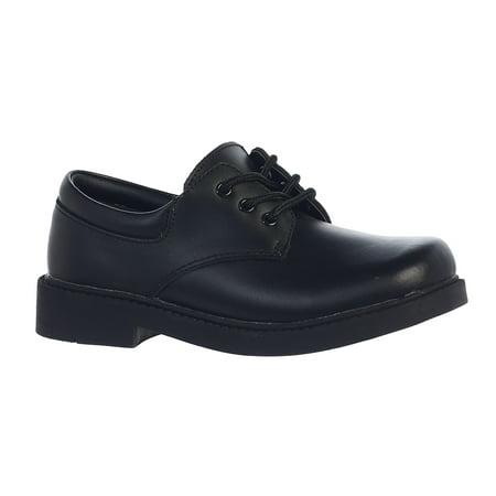 Boys Black Genuine Leather Matte Finished Dress Shoes