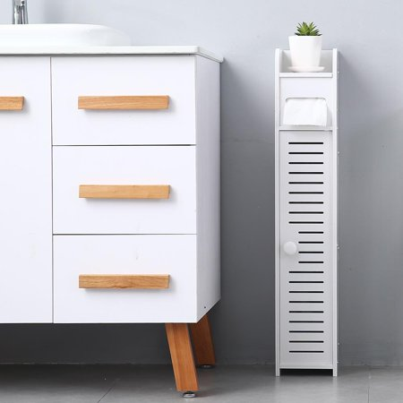 Combo Towel Cabinet (UBesGoo Bathroom Side Cabinet Waterproof Storage Bathroom Storage Rack Corner Floor Cabinet Toilet Paper Towel Narrow Cabinet)
