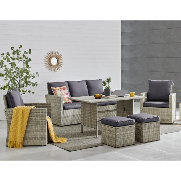 Barton 6 Pieces Patio Dining Sets, Wicker Rattan Dining Room Chairs