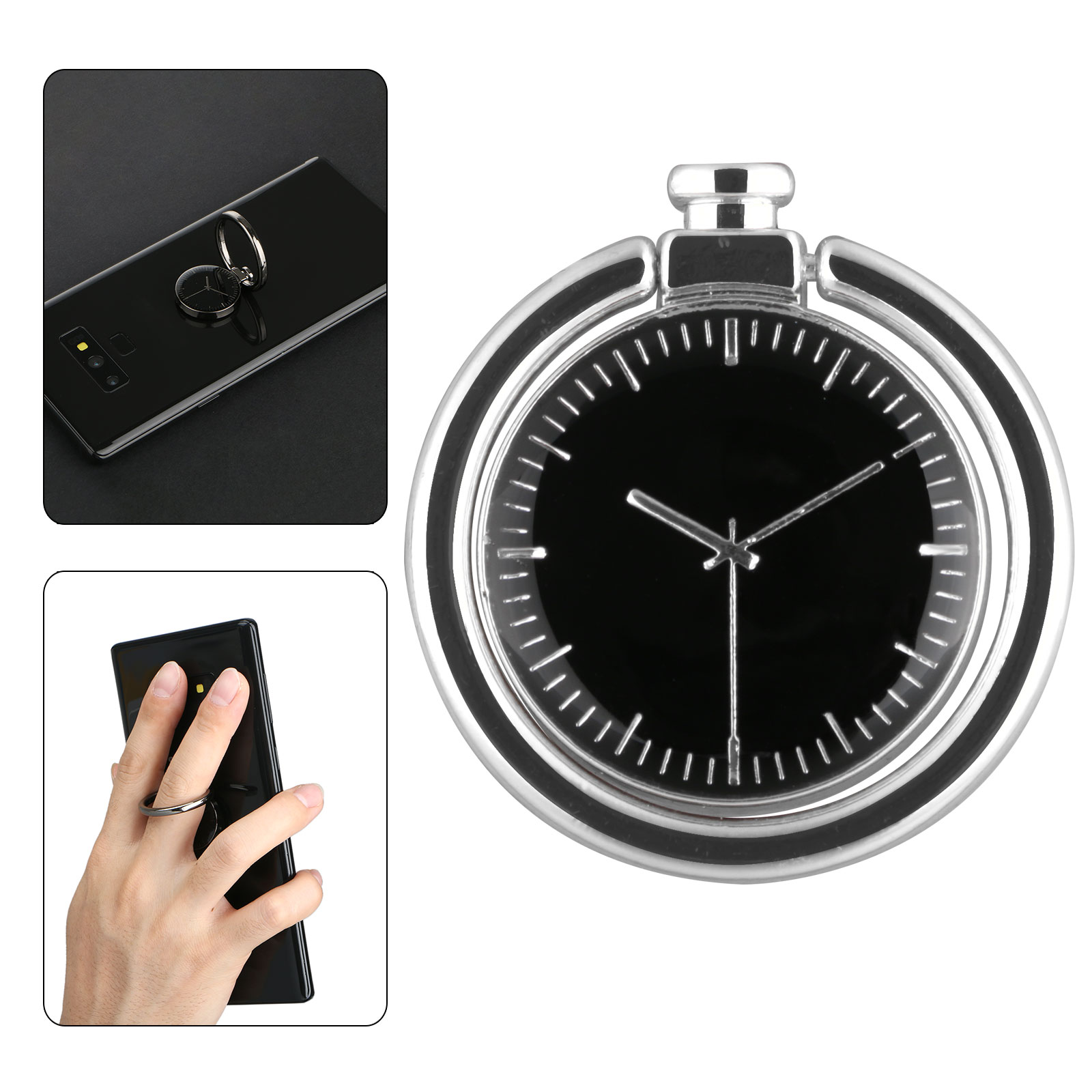EEEKit Phone Finger Ring Stand, 180° Fold Universal Magnetic Nonslip Clock Design Ring Finger Holder Grip Mount Kickstand for Cell Phone