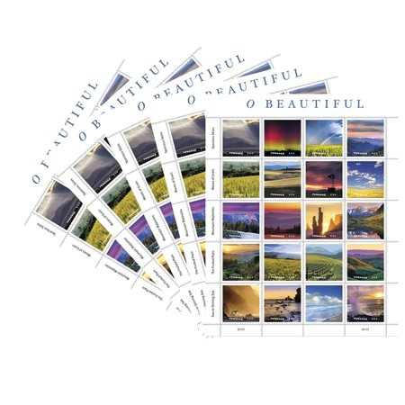O Beautiful 5 Sheets of 20 USPS First Class Postage Stamp Natural America Skies Grain Mountains Plains Sea Celebration Wedding (100