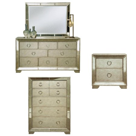 3 Piece Bedroom Set with Dresser and Chest and Nightstand in Gold