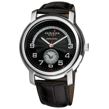 Men's Automatic Retrograde Date Leather Black Strap Watch