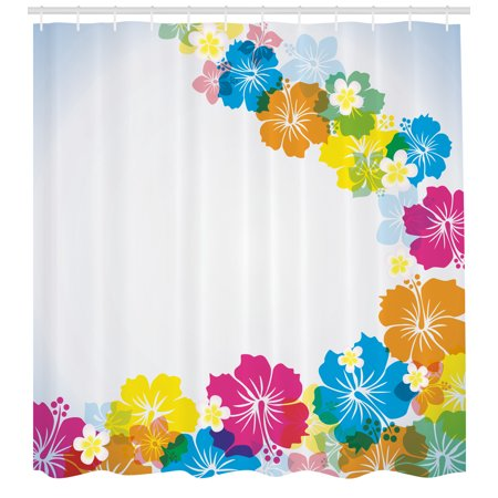 Luau Shower Curtain, Vibrant Colorful Border Design with Blossoming Hibiscus Polynesian Springtime Aloha, Fabric Bathroom Set with Hooks, Multicolor, by Ambesonne