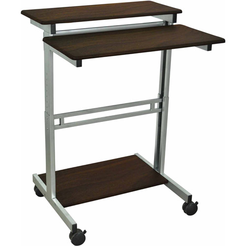 Luxor Stand Up Adjustable Workstation, Dark Walnut