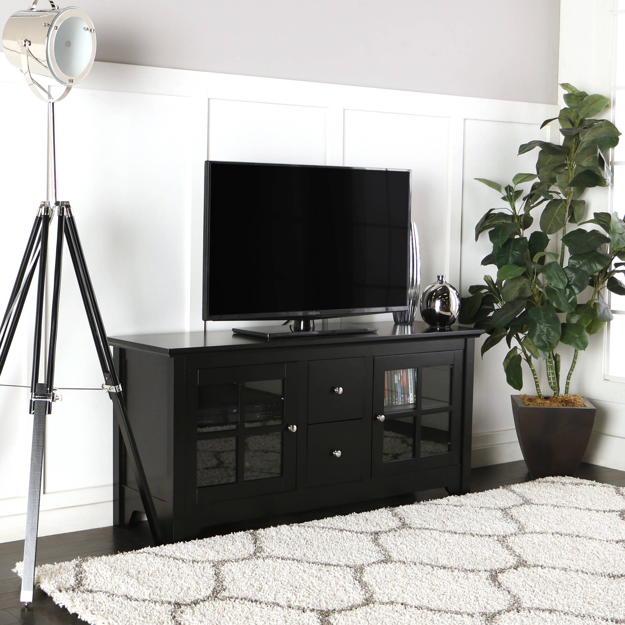 living room drawers. Walker Edison Wood Matte Black TV Console with 2 Drawers for TVs up to 55  Multiple Colors Walmart com