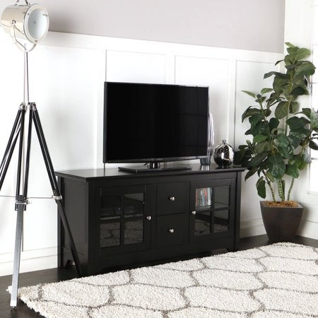 Wood Matte Black TV Console with 2 Drawers for TVs up to 55″, Multiple Colors