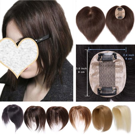 S-noilite Hair Toppers for Women Human Hair 100% Remy One Piece Clip in Toppers Extension Straight Real Mono Toppiece Hair Piece for Thinning Hair