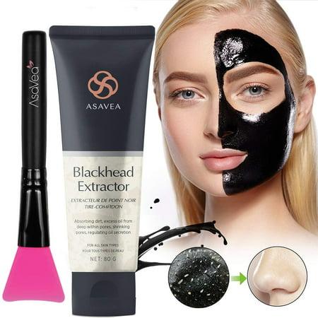 AsaVea Black Peel Off Mask with Brush,Blackhead Remove Charcoal Blackhead Remove, Deep Cleansing, Pore Shrinking, Acne and blackhead Control, 80 gram