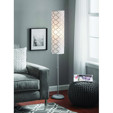Mainstays 54 Metallic Silver Rice Paper Shade Floor Lamp Finish