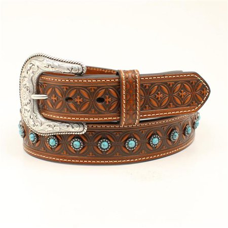 Nocona N210000008-44 1.50 in. Turquoise Stone Conchos Stitching Mens Belt & Buckle, Tan - Size