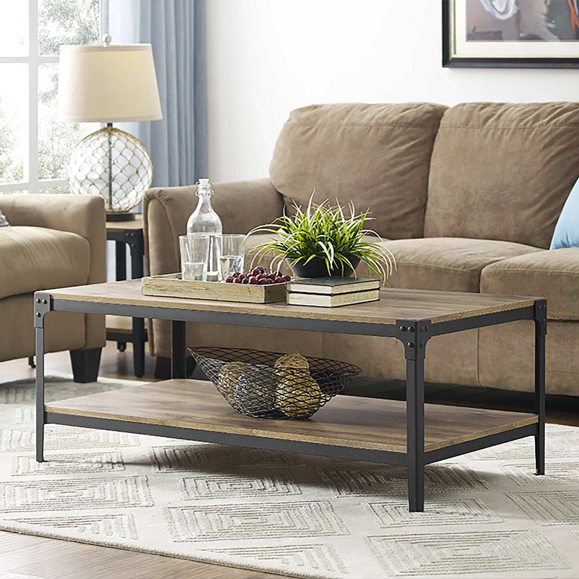 Angle Iron Rustic Wood Coffee Table - Barnwood