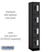 See through Designer Wood Locker Four Tier 1 Wide 6 Feet High 18 Inches Deep Black