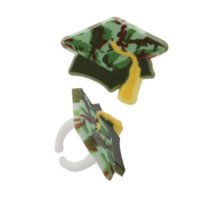 24pack Camouflage Grad Hat Cupcake / Desert / Food Decoration Topper Rings with Favor Stickers & Sparkle Flakes