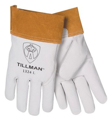 "Tillman 1328XL X-Large Pearl Top Grain Goatskin Standard Grade TIG Welders Gloves With Wing Thumb, 4"" Cuff, Seamless Forefinger And Kevlar Lock.., By John Tillman and Co"