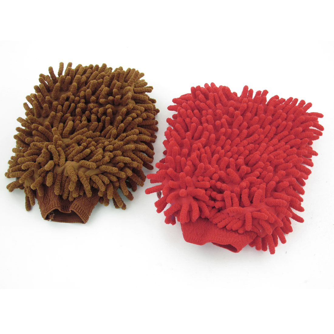 2 Pcs Protective Dual Sides Stretchy Microfiber Car Wash Glove Anti Scratch w Elastic Cuff Red Coffee Color