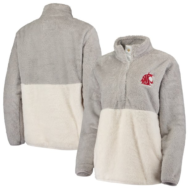Washington State Cougars Women's Fuzzy Fleece Colorblock Quarter-Snap Pullover Jacket - Gray