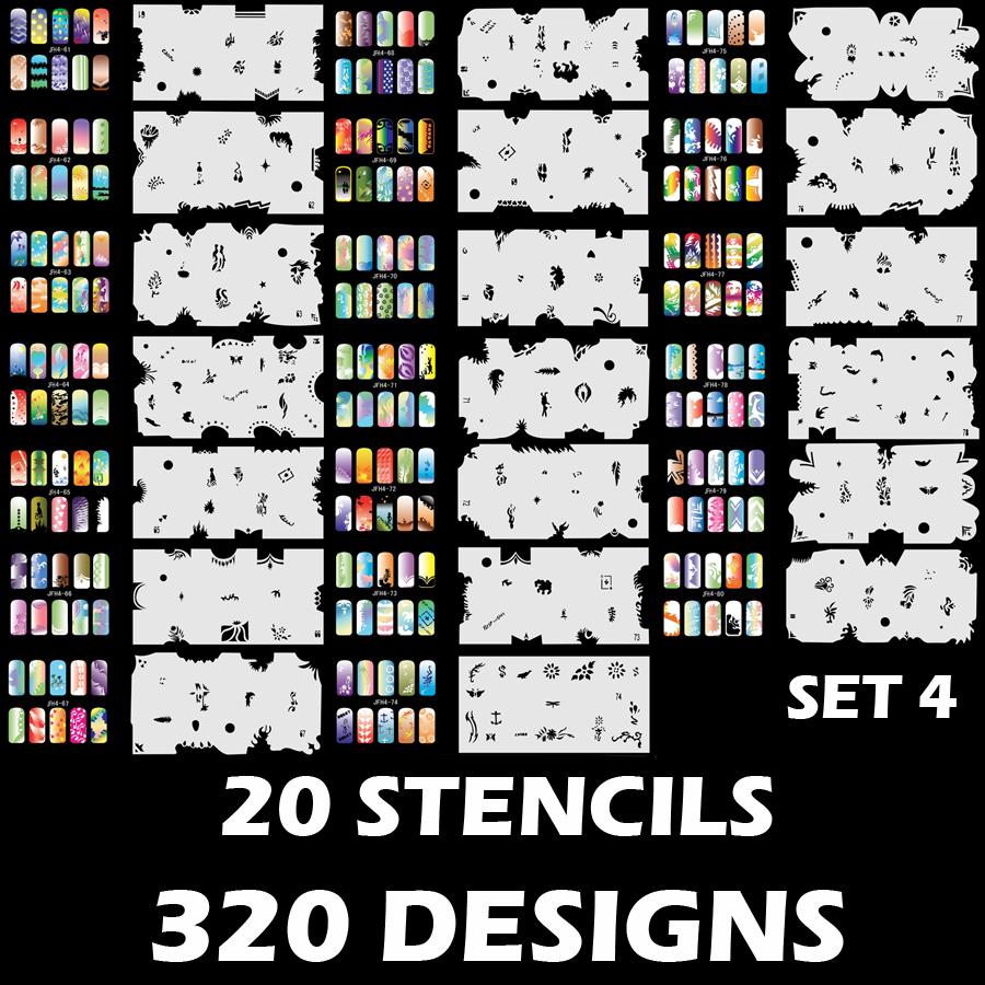 Set 4 320 Airbrush Nail Art STENCIL DESIGNS - 20 Template Sheets Kit Brush Paint