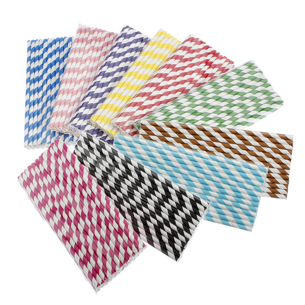 25Pcs Biodegradable Diva Pink Paper Drinking Straws Striped Birthday Wedding Party,7-red color
