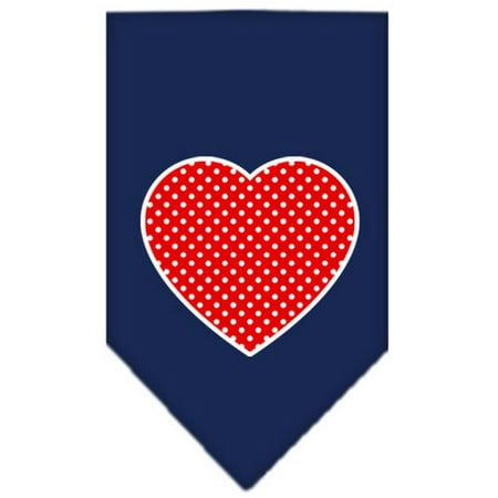 Red Swiss Dot Heart Screen Print Bandana Navy Blue (Navy Blue Bandana)