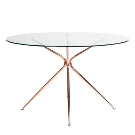 e07a78ad081b Atos 48-inch Round Dining Table with Clear Tempered Glass Top and Brushed  Rose Gold Base - Walmart.com