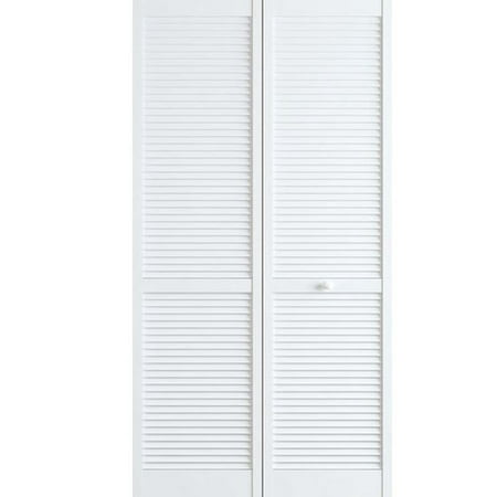 Kimberly Bay Louvered Wood Primed Bi-Fold Door ()