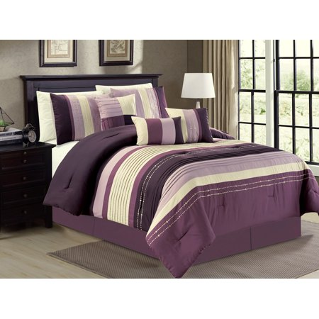 7-Pc Pleated Stripe Dotted Lines Embroidery Comforter Set Purple Lavender Lilac Beige (Lilac Garden Baby Bedding)