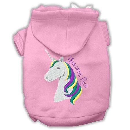 Unicorn Dog (Unicorns Rock Embroidered Dog Hoodie Light Pink M)
