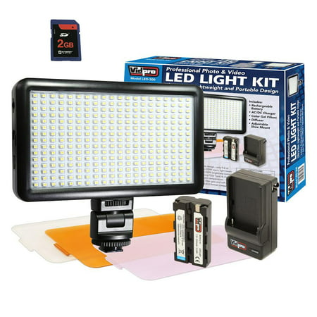 Panasonic AG-HPX170 Camcorder Lighting Ultra-Slim LED-300 Vidpro Model LED-300 Professional Photo & Video Light Kit - with a FREE Synergy Digital 2GB SD