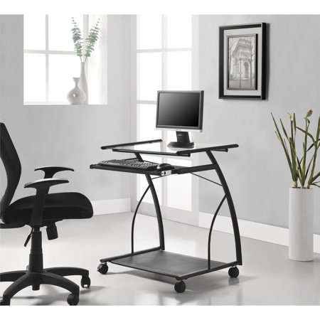 Altra Furniture Mobile Computer Cart Desk Black