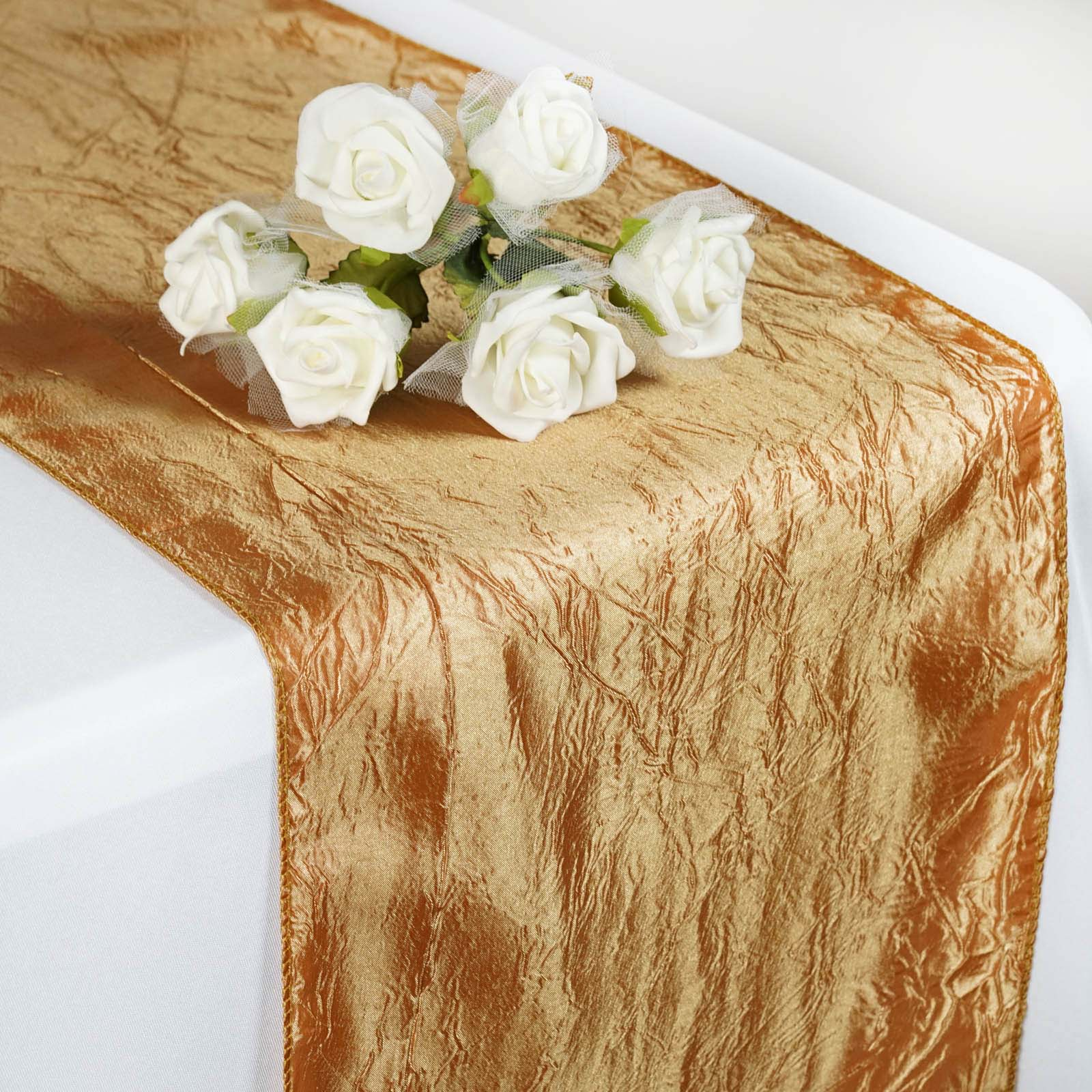 "BalsaCircle 12"" x 108"" Taffeta Crinkle Table Top Runners Linens Wedding... by"