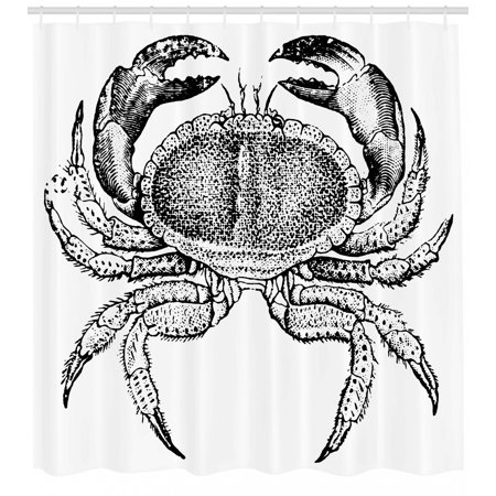 Crabs Shower Curtain Seafood Themed Design Vintage Engraved Illustration Of An Edible Crab Print Fabric Bathroom Set With Hooks Black And White