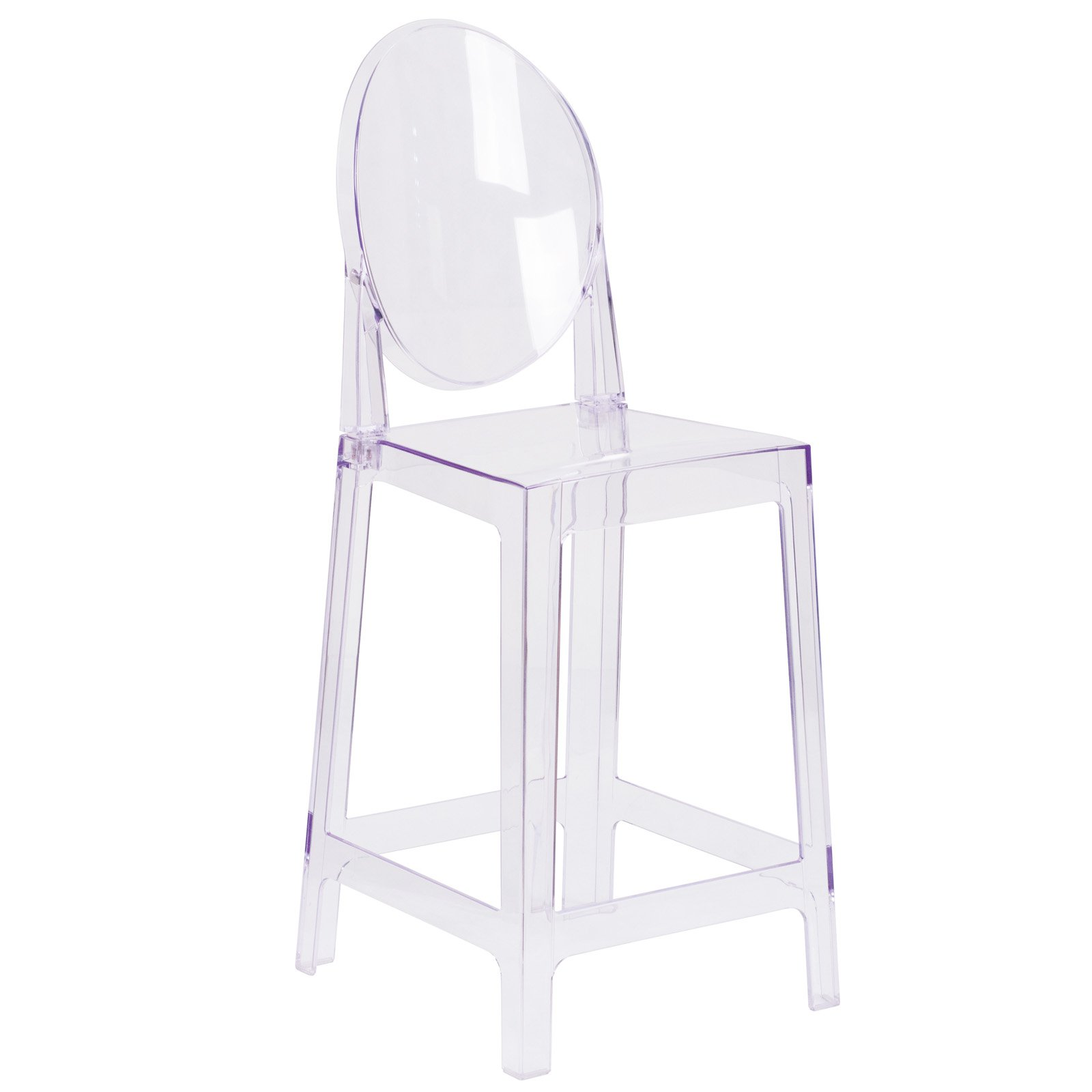 Enjoyable Flash Furniture Ghost Counter Stool In Transparent Crystal With Oval Back Download Free Architecture Designs Rallybritishbridgeorg